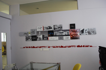 migo, linear vibes, space design, industrial, Red Office